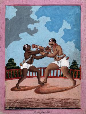 view Prize wrestlers. Gouache drawing.