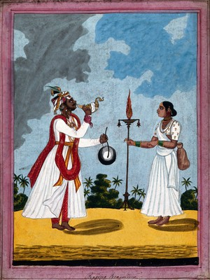 view A begging Brahman performing a ritual with his wife. Gouache drawing.