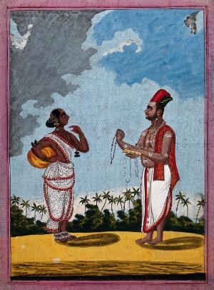 view A Hindu priest offering a young woman some holy beads. Gouache drawing.