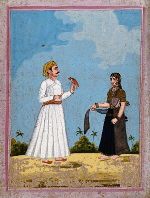 view A man holding a parrot accompanied by a courtesan. Gouache drawing.