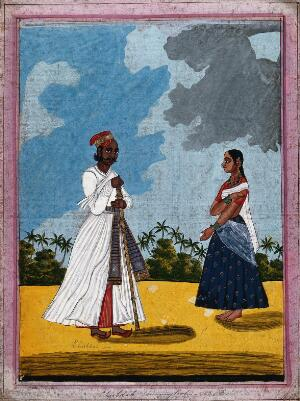 view Chubdah or running footman and wife. Gouache drawing.