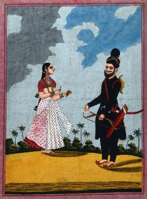 view A Sikh soldier with his wife offering him betel leaves. Gouache drawing.
