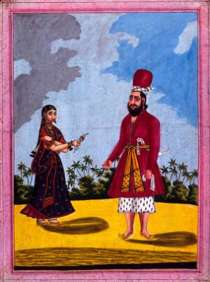 view A Sikh and his wife. Gouache drawing.