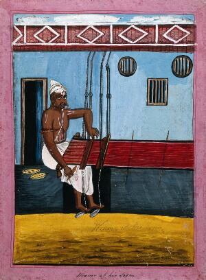 view Indian weaver at his loom. Gouache drawing.