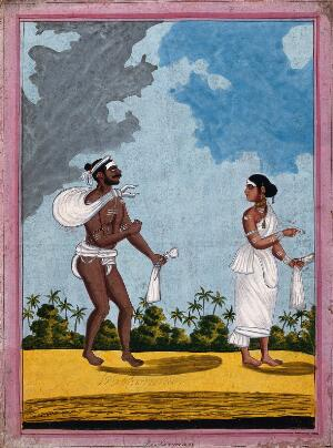 view Indian washerman and wife. Gouache drawing.