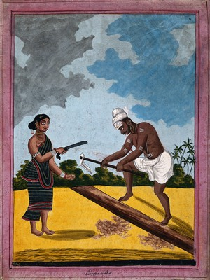 view An Indian carpenter and wife holding tools. Gouache drawing.