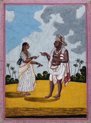view A man from Mysore being handed some betel leaves by his wife. Gouache drawing.