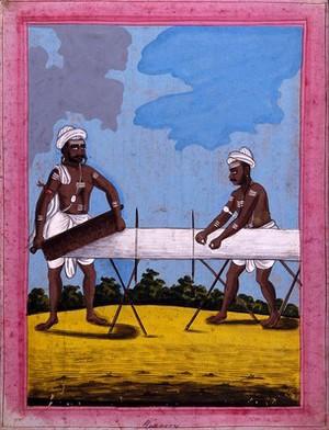 view Indian weavers. Gouache drawing.