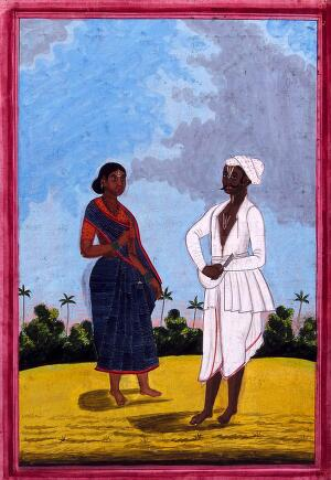 view Hindu barber and wife. Gouache drawing.