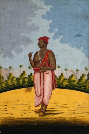 view Brahman. Gouache drawing.