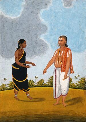 view Brahman priest and wife. Gouache drawing.