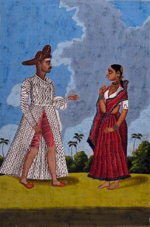 view Marratta tailor and wife. Gouache drawing.