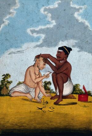 view A Malabar barber cutting a customer's hair. Gouache drawing.