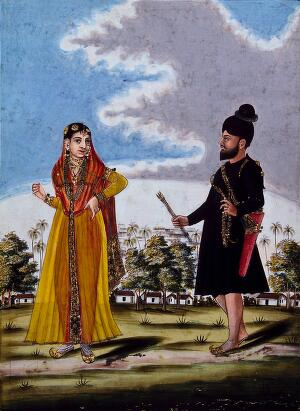 view Sikh soldier and wife outside barracks. Gouache drawing.