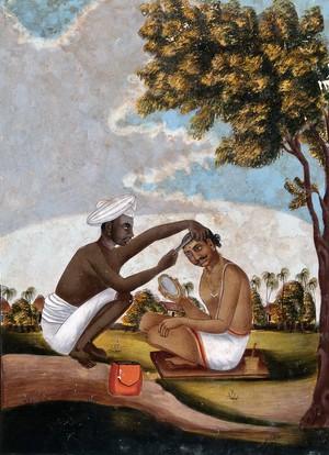 view Hindu barber shaving a man's head. Gouache drawing.