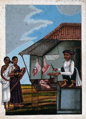 view Indian butcher selling meat to some customers. Gouache drawing.