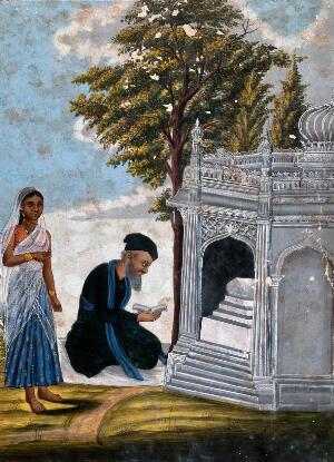 view A Hindu praying to a shrine accompanied by a young lady. Gouache drawing.