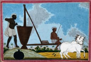 view Two men perhaps milling foodstuffs in a vat with a millwheel driven by two oxen. Gouache drawing, 18--.