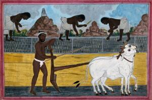 view A man ploughing with oxen; in the background, women tending the paddy fields. Gouache drawing, 18--.