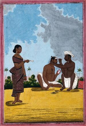 view A country barber shaving a man; a woman stands on the left. Gouache, 18--.