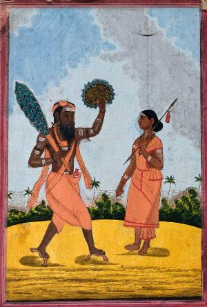 view A man holding a peacock feather and a gold fan, with a woman holding a spear. Gouache, 18--.