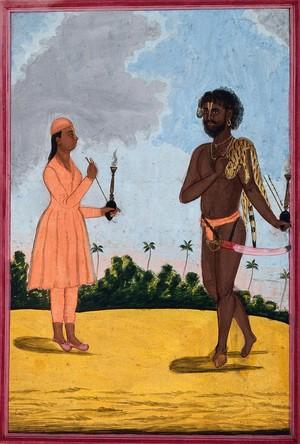 view A Vaishnavite or bairagi ascetic. Gouache, 18--.