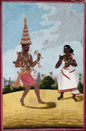 view A pandaram or Malabar ascetic. Gouache, 18--.