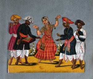 view A dancing woman with four male musicians of south India. Gouache painting.