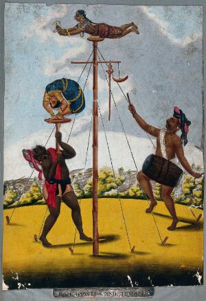 view Indian acrobats performing. Gouache painting.