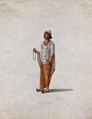 view A Muslim priest holding prayer beads. Gouache painting by an Indian artist.