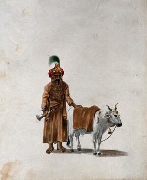 view A man wearing a headgear with an image of a deity (?), standing with his cow. Gouache painting by an Indian artist.