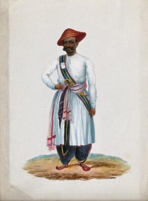 view An Indian sentry (?). Gouache painting by an Indian artist.