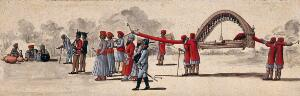 view Four men carrying a long palanquin, preceded by guards and attendants. Gouache painting by an Indian artist.