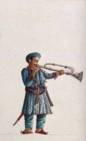 view A musician playing an Indian bugle. Gouache painting by an Indian artist.