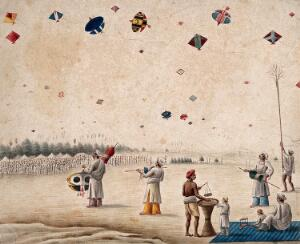 view A kite flying festival. Watercolour by an Indian artist.