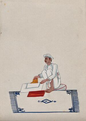 view A servant ironing clothes. Watercolour by an Indian artist.