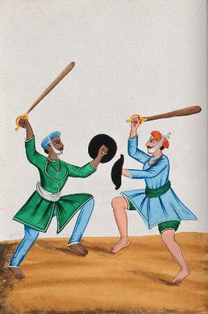 view Two Sikh men dueling with wooden swords. Watercolour by an Indian artist.