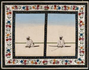 view Left, a knife sharpener sharpening a knife; right, a sword sharpener, sharpens a sword. Gouache painting by an Indian artist.