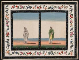 view Two Indian women dressed in different clothes. Gouache painting by an Indian artist.