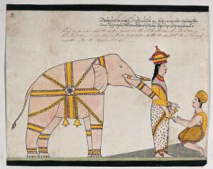 view Prince Vessantara offers an elephant to the seven brahmins from Kalinga. Watercolour.