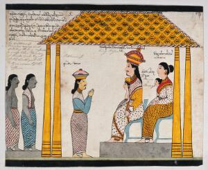 view The representative of the people of Jetuttara requests Prince Vessantara to leave the city. Watercolour.