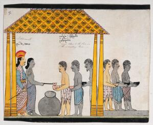 view The representative of the people of Jetuttara gives alms to the poor in the victualling rooms. Watercolour.