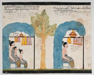 view Prince Vessantara and his family live as hermits in separate temples. Watercolour.