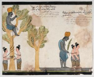 view The brahmin, sitting in a tree, keeps the children of Vessantara tied up all night, and in the morning takes them on the road. Watercolour.