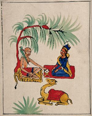 view A woman getting advice from a hermit sitting under a tree. Gouache painting by an Indian painter.