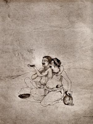 view Two beggars asking for alms. Collotype (?) after an Indian draftsman.