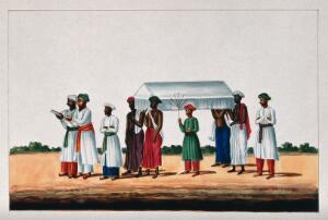 view Four Muslims carrying a coffin for burial at the mosque preceded by two men reading from a holy book. Gouache painting by an Indian painter.