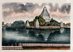 view Madurai: a view of the tank and the Judge's house. Watercolour by an Indian painter.