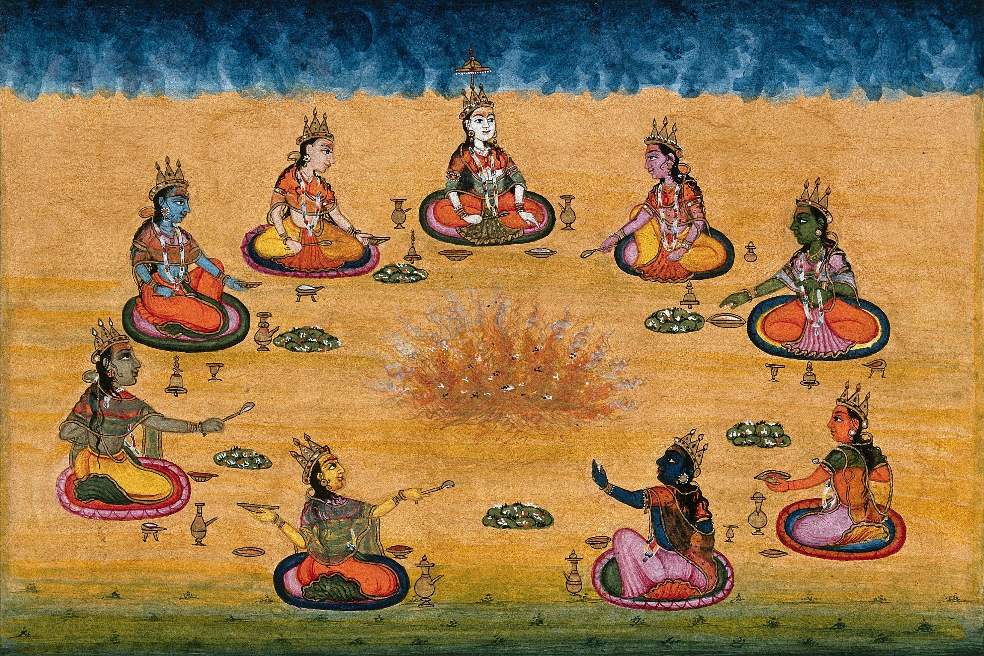 Nine female deities (?) performing a yagna, a fire sacrifice, an ...