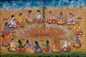 view A column emerges from the sacrificial fire as eighteen deities perform a yagna, an old vedic ritual where offerings are made to the god of fire, Agni. Gouache painting by an Indian artist.